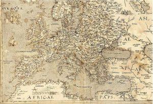 Harta Europei de la 1570, in care apare Hy-Brasil