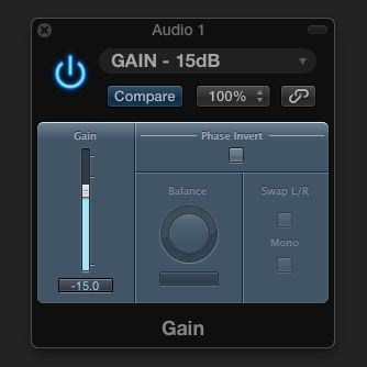 Logic Pro X Gain Staging individual tracks -15dB