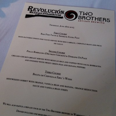 Revolución Mexican Steakhouse: Two Brothers Tasting & Pairing
