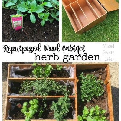 Repurposed Wood Cabinet Herb Garden
