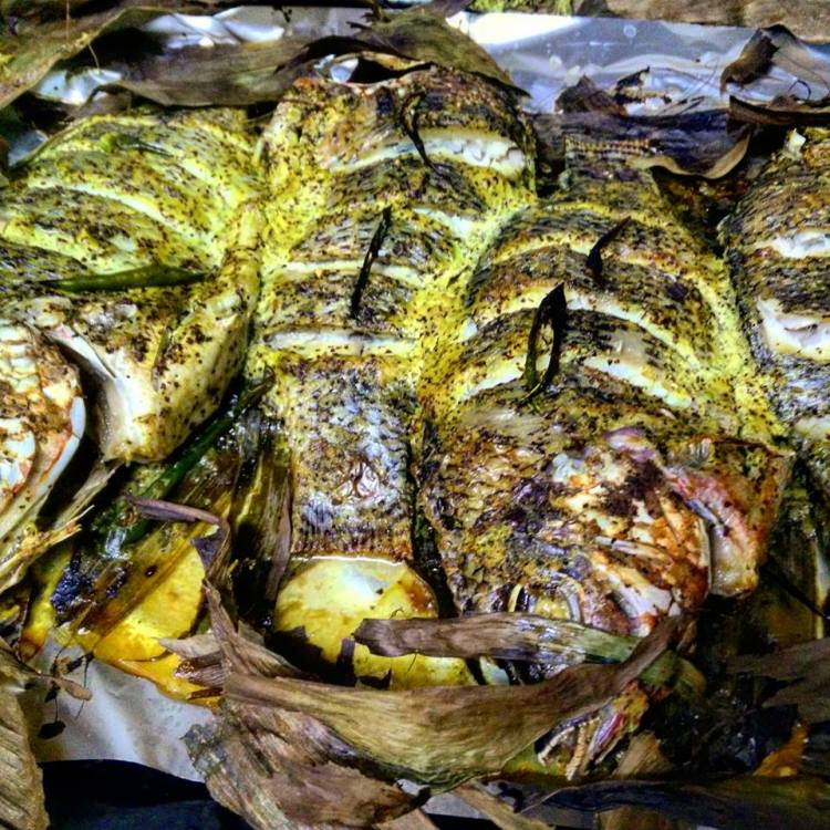 tilapia wrapped in turmeric leaves