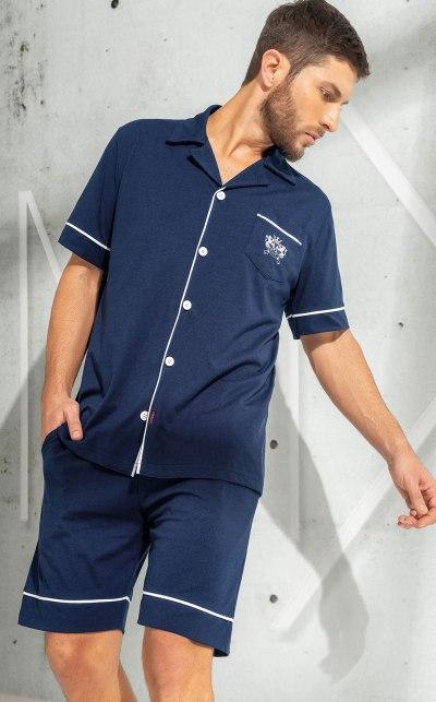 Pijama Cardigan Manga Curta com Bermuda
