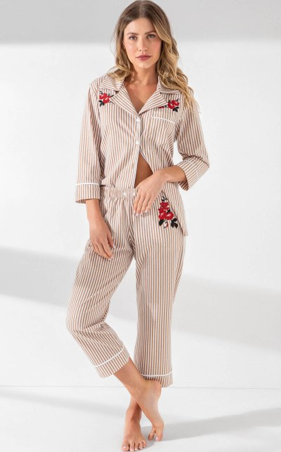 Pijama Cardigan Manga 3/4 com Capri