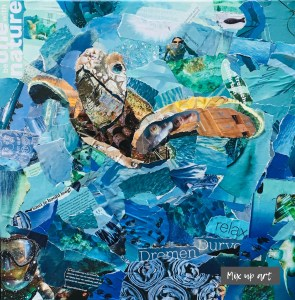 Divers view - € 550,- / Collage op canvas 50 x 50