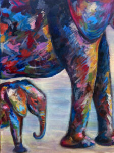 Olifantenjong - Verkocht / Acryl op doek 40 x 50
