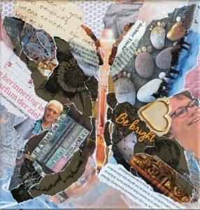 vlinder - In opdracht / Collage op canvas 19 x 19