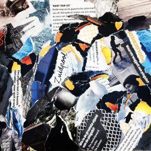 Pinguïns / Collage op canvas 19 x 19