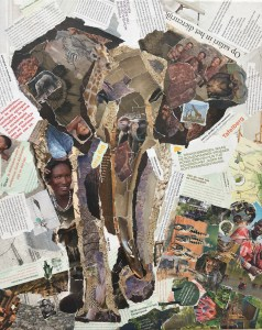 Olifant - Verkocht / collage op canvas 40 x 50