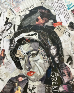 Amy Winehouse - Verkocht / collage op canvas 40 x 50