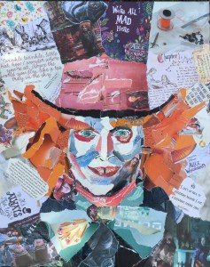 Mad Hatter- € 500,- / collage op canvas 40 x 50