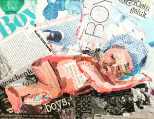 """Babyboy""- Verkocht / Collage op canvas 24 x 30"