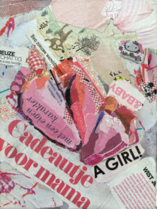 """Babygirl""- € 50,- / Collage op canvas 18 x 24"