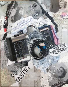 """Did you just take a picture?""- Verkocht / Collage op canvas 24 x 30"