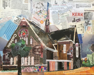 Julianakerk Sassenheim - In opdracht / Collage op canvas 40 x 50