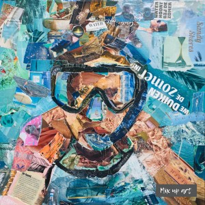 Beyond the sea - € 495,- / Collage op canvas 50 x 50
