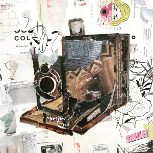 Veldcamera - € 200,- / Collage op canvas 30 x 30