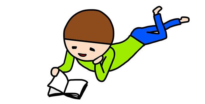 漫画を読んでいる人のイラスト