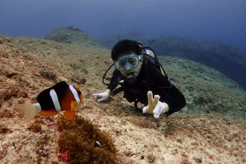 宮古島・伊良部島でクマノミと一緒にダイビング。