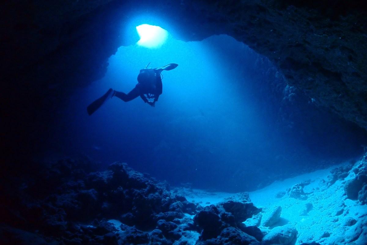 伊良部で地形ダイビングに体験ダイビング
