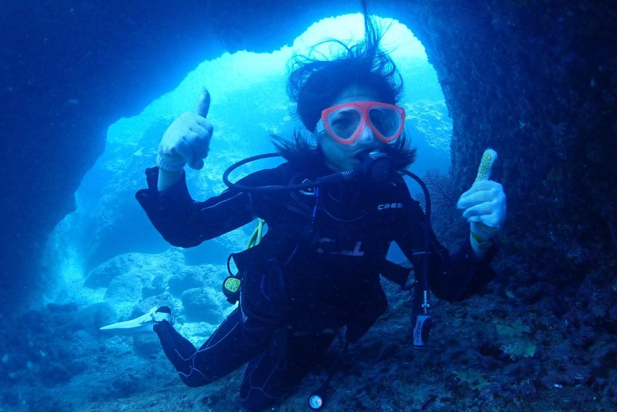 うねりにうねっている伊良部で体験ダイビング
