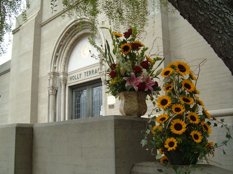 View of two bouquets from the side, outside Holly Terrace