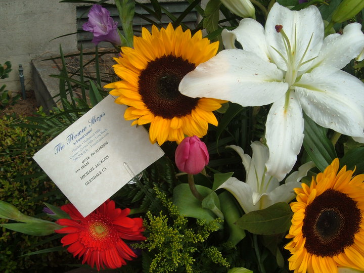 Your flowers for Michael with the card