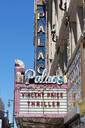 "Owners of The Palace Theatre at 630 S. Broadway near the Los Angeles Fashion District paid respect to Michael Jackson by re-creating its marquee as it was in 1983 during filming of Jackson's ""Thriller"" video."