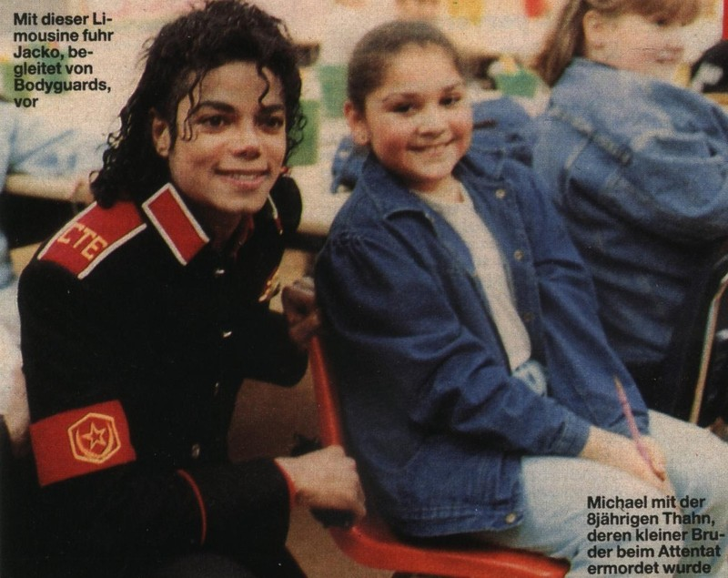Michael with girl at Cleveland Elementary, Stockton, CA