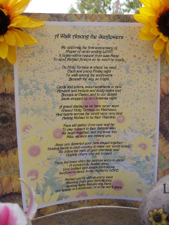 The Sunflowers for Michael Story, in poetic form, by Michelle Gold