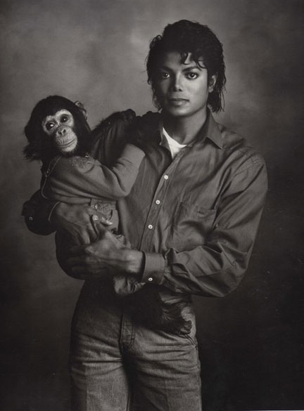 Michael with Bubbles, photographed by Kenny Rogers