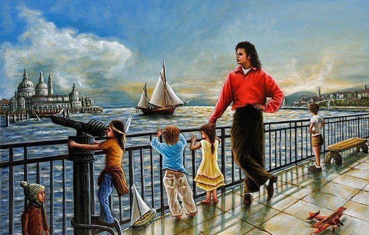 """Holiday"" - Helena showed this painting to Michael before it was finished and he told her to carry on with it."