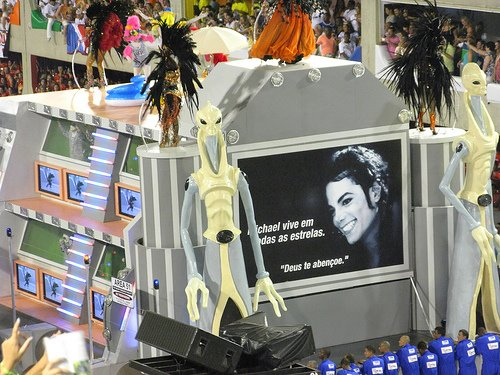 Photo and caption at the back of the float