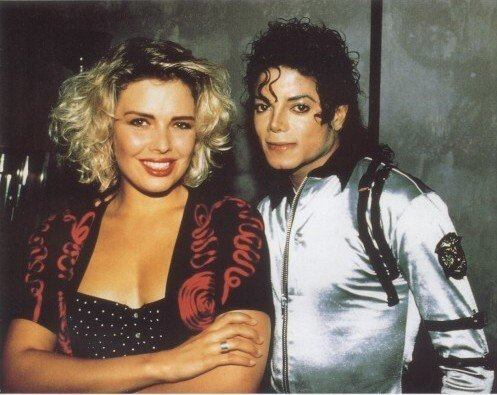 Michael with Kim Wilde who opened for Michael on his Bad Tour [for 34 shows in Europe] in 1988.