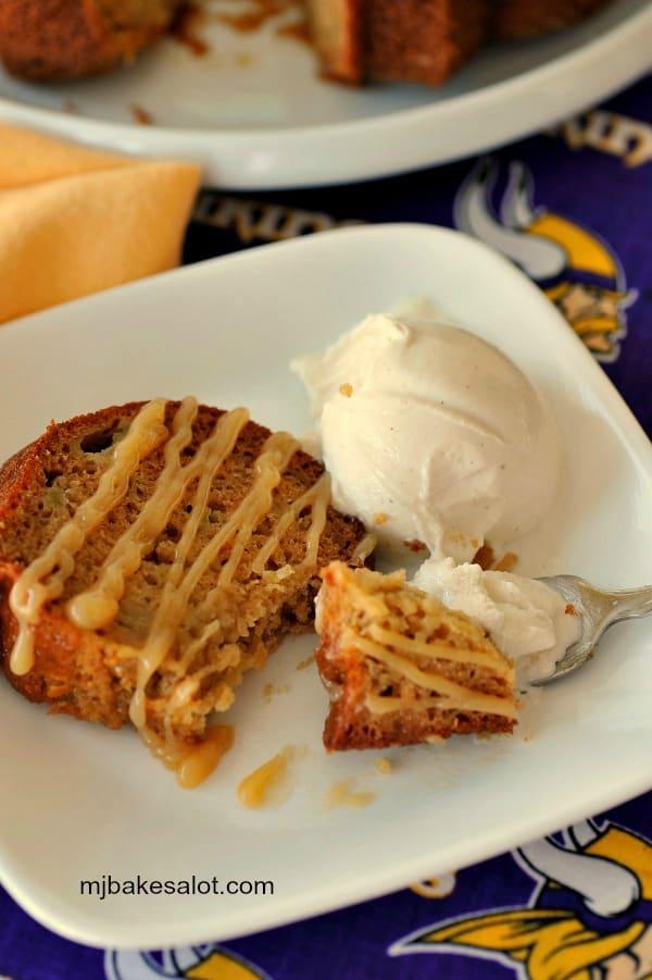 A slice of honey apple Bundt cake is a luscious dessert with vanilla bean ice cream.   mjbakesalot.com