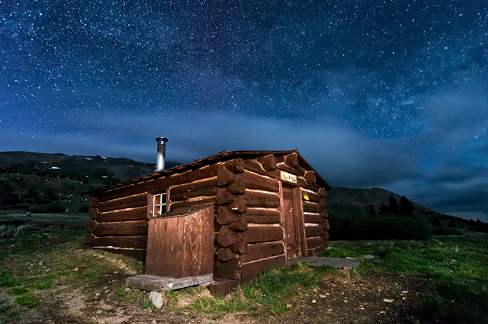 Boreas Pass Cabin Moonlit Night