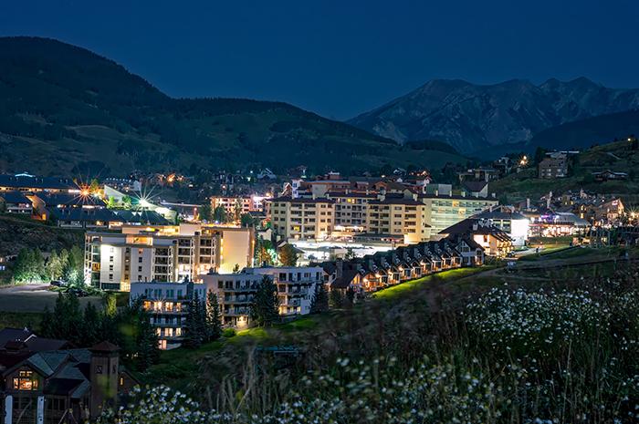 Crested Butte Village Under Full Moon