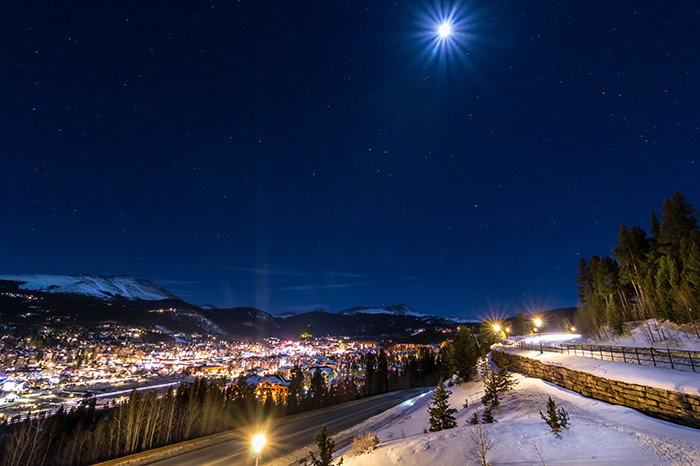 Ski Hill Under Moonlight