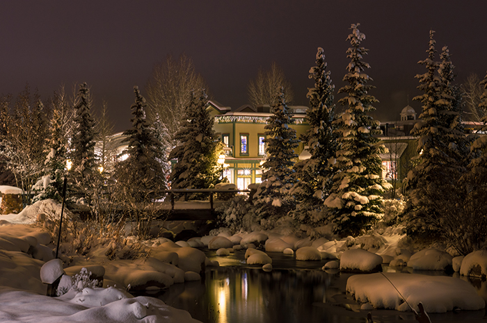 Snowy Night Along Blue River