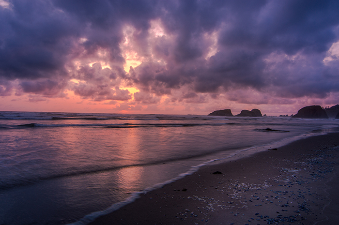 Sunset Along Beach on Oregon Coast
