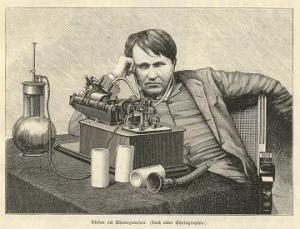 Thomas Alva Edison pictured with his invention
