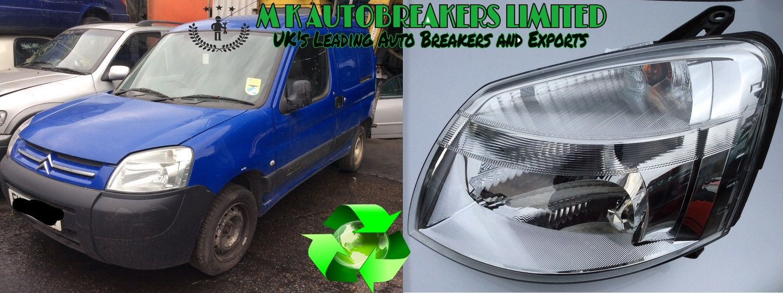 Citroen Berlingo Headlight Headlamp Inc.Motor Left Hand Passenger Side 2003-2008