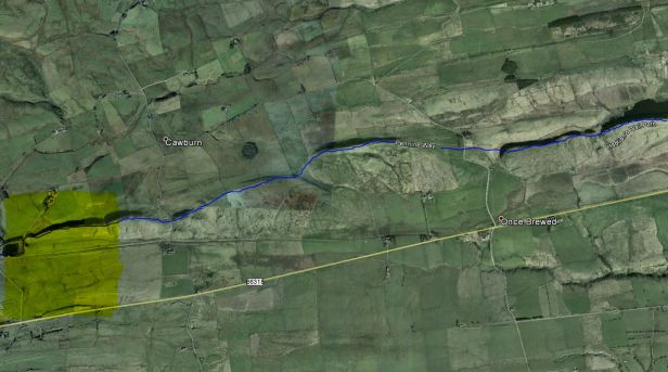 Hadrian's Wall plotted in Google Earth satellite imagery