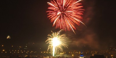 Krosno fireworks above market square