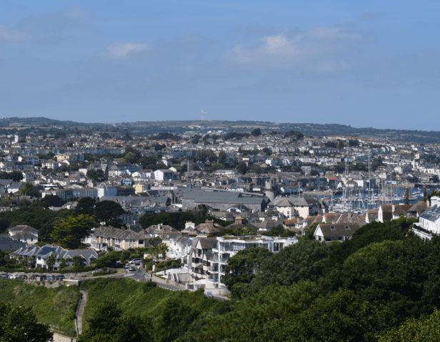Falmouth town seen from Pedennis Castle