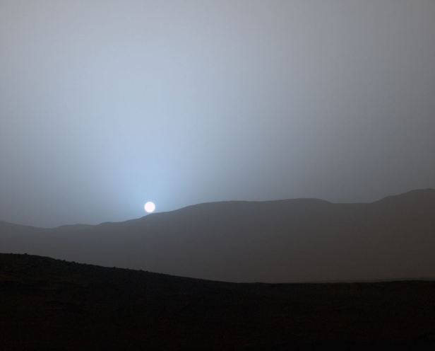 Martian sunset above Gale Crater