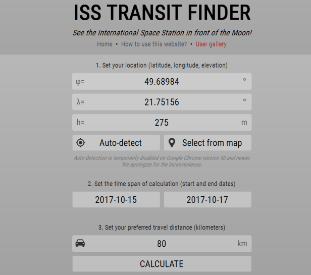 ISS Transit finder main page