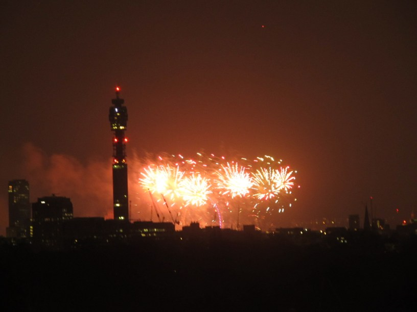 London New Year seen from Primrose Hill viewpoint