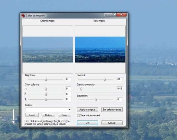IrfanView contrast and gamma correction output