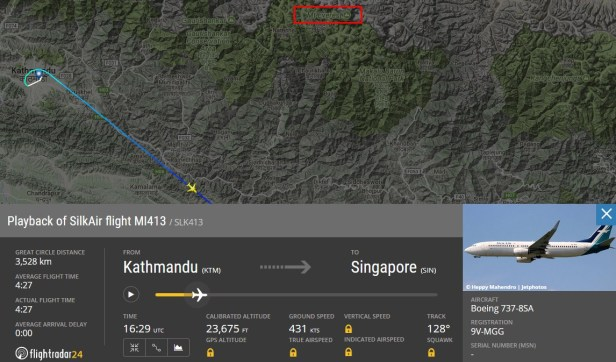 Flight from Kathmandu (KTM) to Singapore (SIN) in the Flightradar24.com map with possibility to see Mount Everest