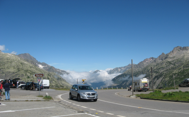 Bernes Alps at Grimsel Pass with daylight sky beyond